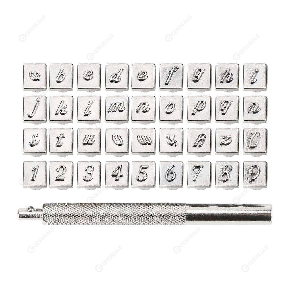 36pcs Stahl Punch Alphabet Buchstaben Anzahl Stempel Kit Metall Leder Handwerk