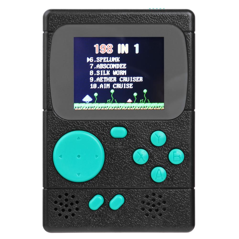 Video Game Console Pocket Game Player Built-in 198 Classic Games (Black)