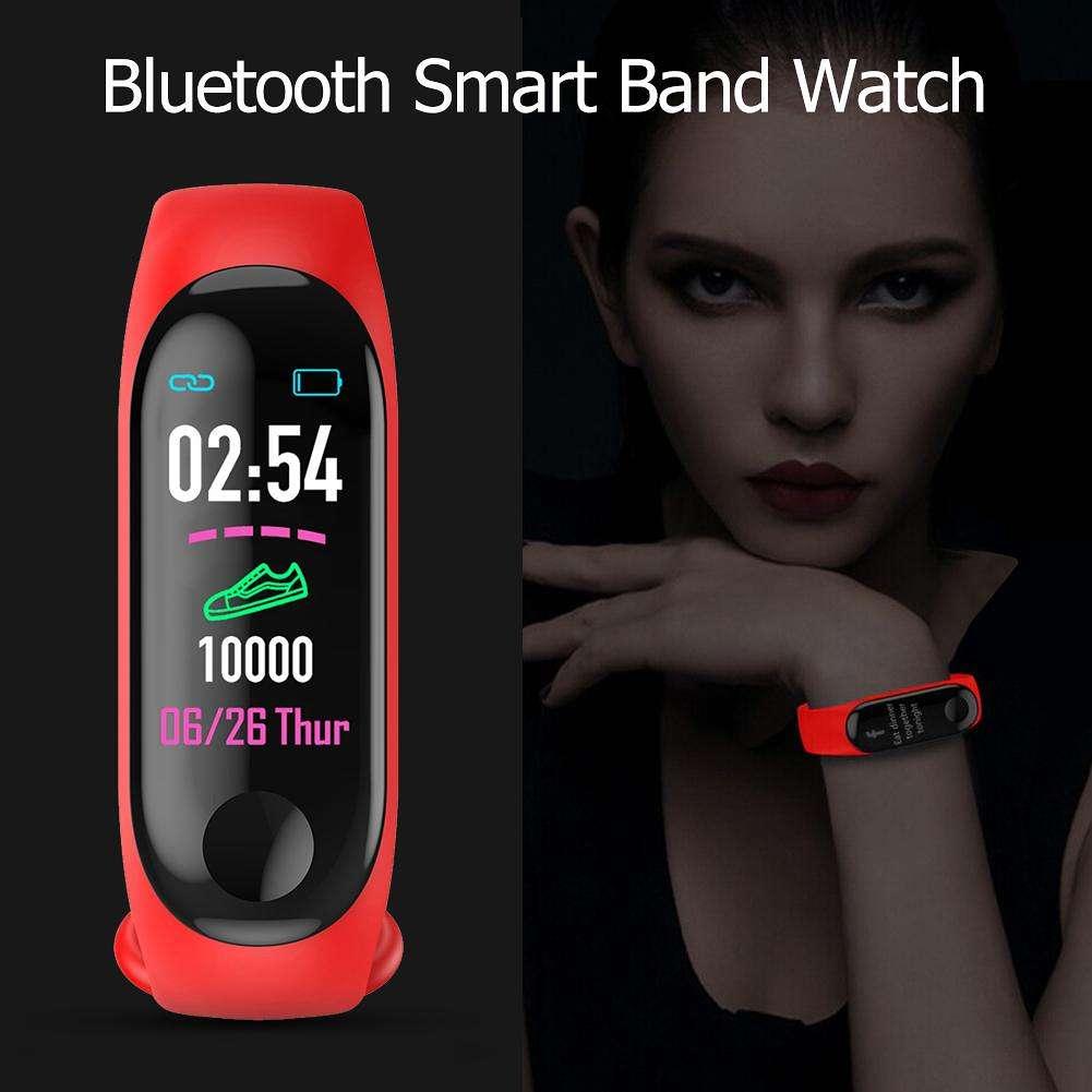 M3 Blood Pressure Oxygen Heart Rate IP67 Waterproof Smart Bracelet (Red)