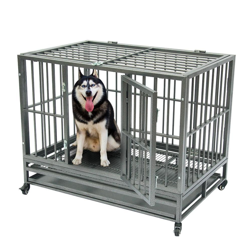 42 inch Portable Metal Dog Cage Kennel Crate for Cat Pets with Tray Silver