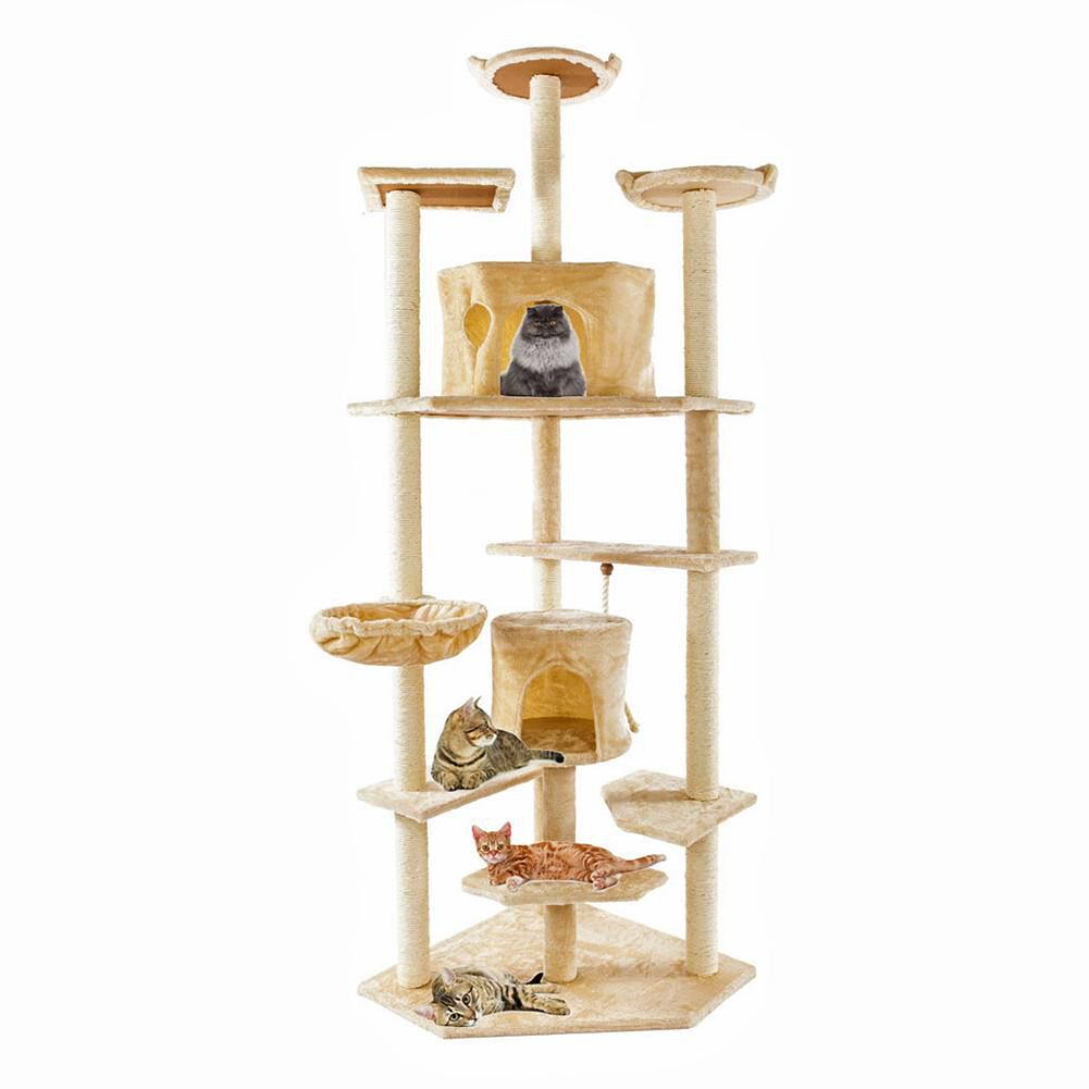 80 inch Cat Climbing Tree Toy Cats Kitten Jumping Standing Frame Post Beige