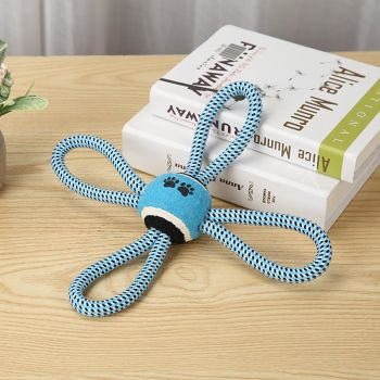 Pet Puppy Dog Cotton Rope Ball Training Grinding Teeth Cleaning Toy (Blue)