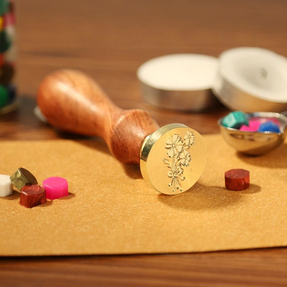 Plants Pattern Retro Sealing Stamp Wood Handle Metal Sealing Wax Stamp (F)