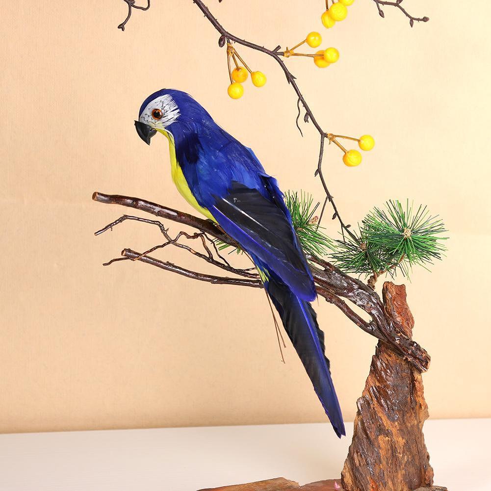 Foam Feather Artificial Parrot Imitation Bird Model Ornament (Dark Blue)