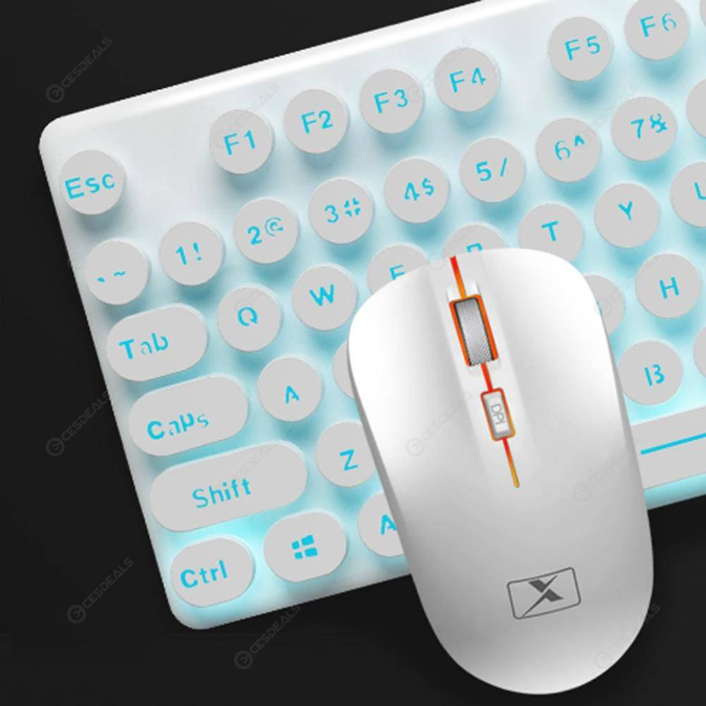 27beec59b5b0 N528 Wireless Keyboard and Mouse Combo Rechargeable Keyboard Mouse (White)