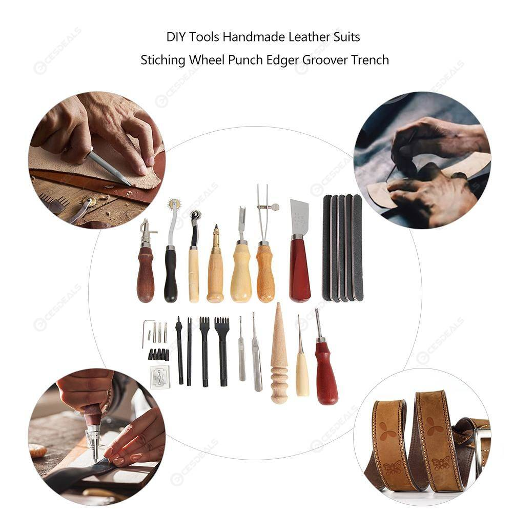 59pcs DIY Tools Handmade Leather Suits Set Belt Puncher Device Hand Tool