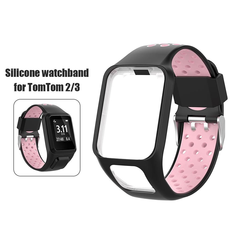 Silicone Watchband Bracelet Strap w/Case for TomTom Series 2 3 (Black+Pink)