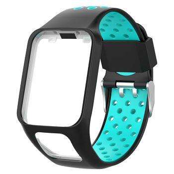 Silicone Watchband Bracelet Strap w/Case for TomTom Series 2 3 (Black+Blue)