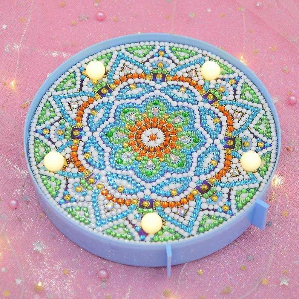 DIY LED Light Mandala Diamond Painting Embroidery Special Shaped Drill Art Craft