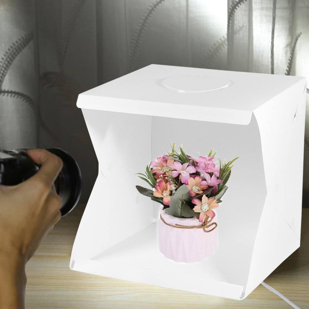 2 LED Folding Lightbox 40x40cm Adjustable Photography Photo Studio Softbox