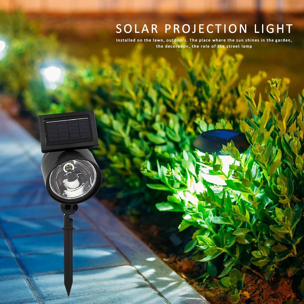 4LED Solar Spotlight Lawn Lights with Magnifier Lampshade (White Light)