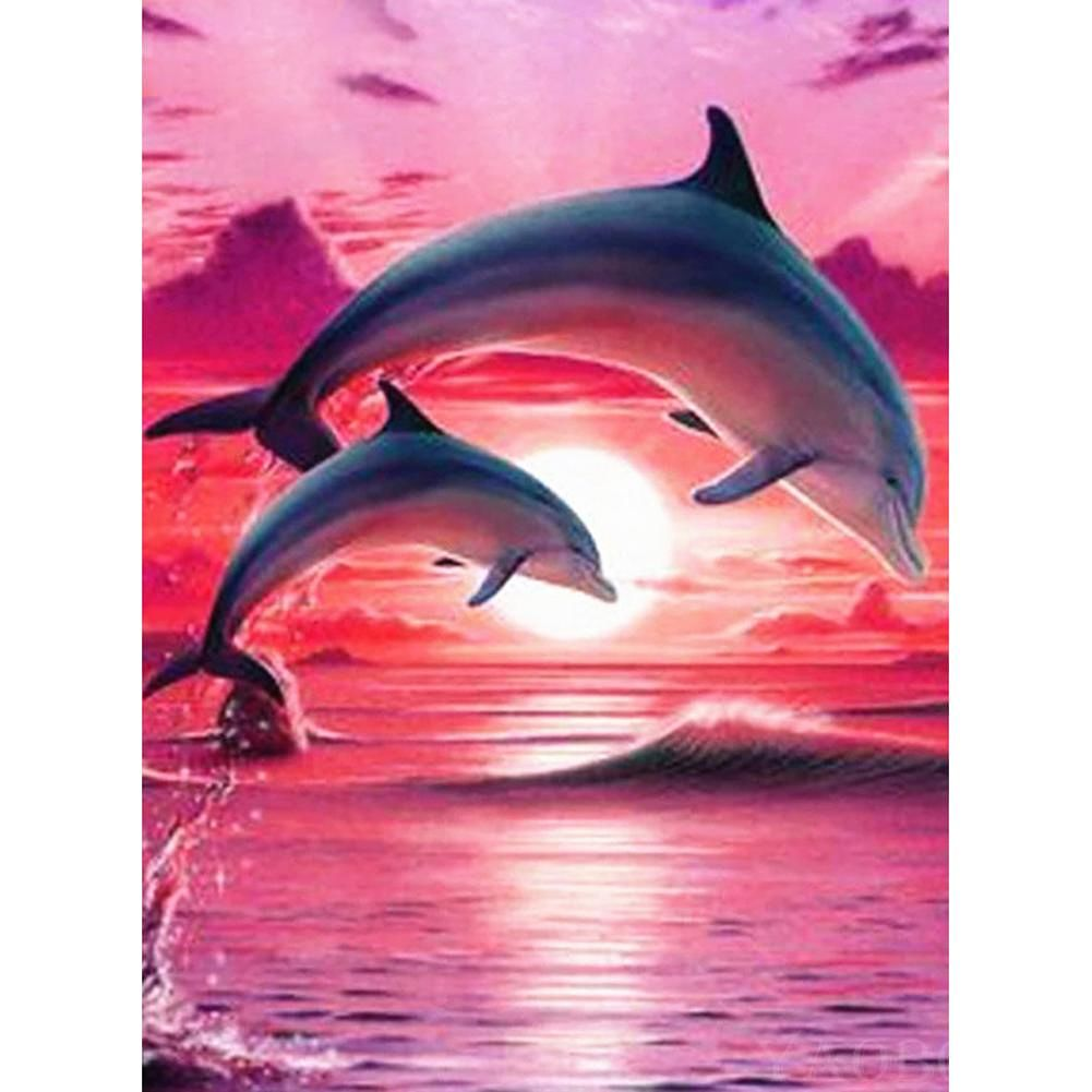 5D DIY Full Drill Diamond Painting Cross Stitch Embroidery Kit (Dolphin01)