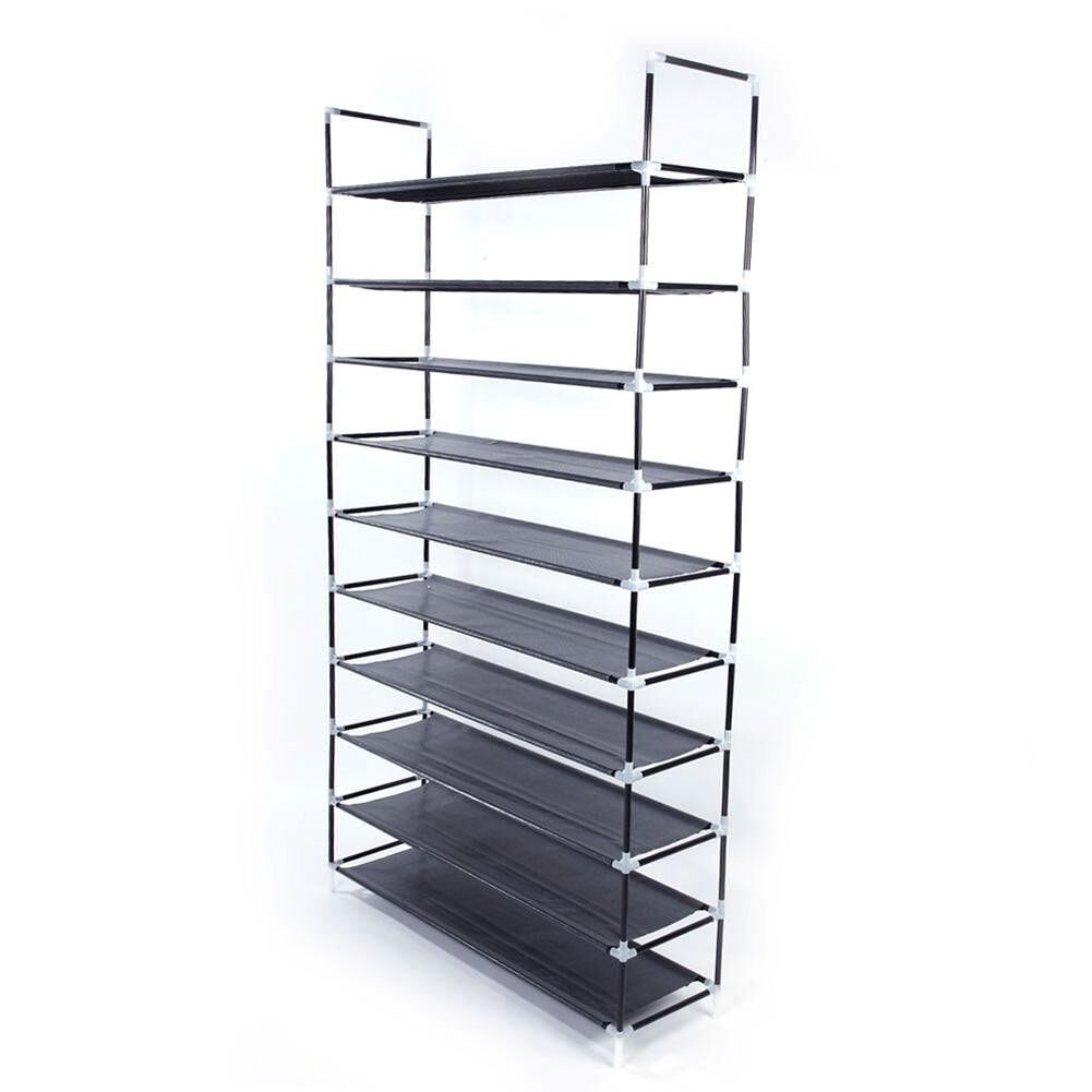 Simple Assembly 10 Tiers Non-woven Fabric Black Shoe Rack Storage Cabinet