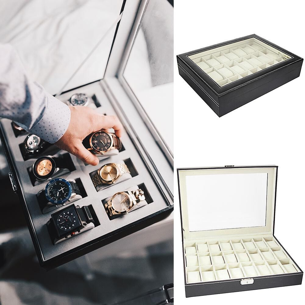 24 Compartments Black Leather Watch Display Storage Case Collection Box