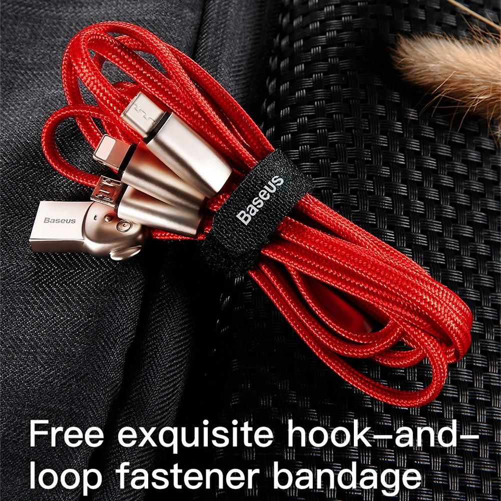 Baseus 3 in 1 USB Cable Charging Cord for iP Type-C Micro Device (Red)
