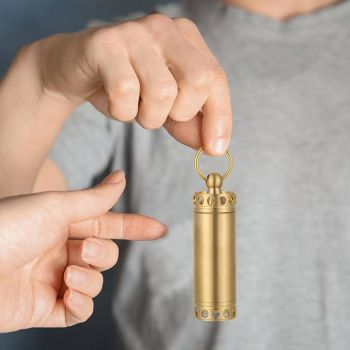 Brass Waterproof Canister Medicine Seal Capsule Bottle Outdoor EDC Tool (L)