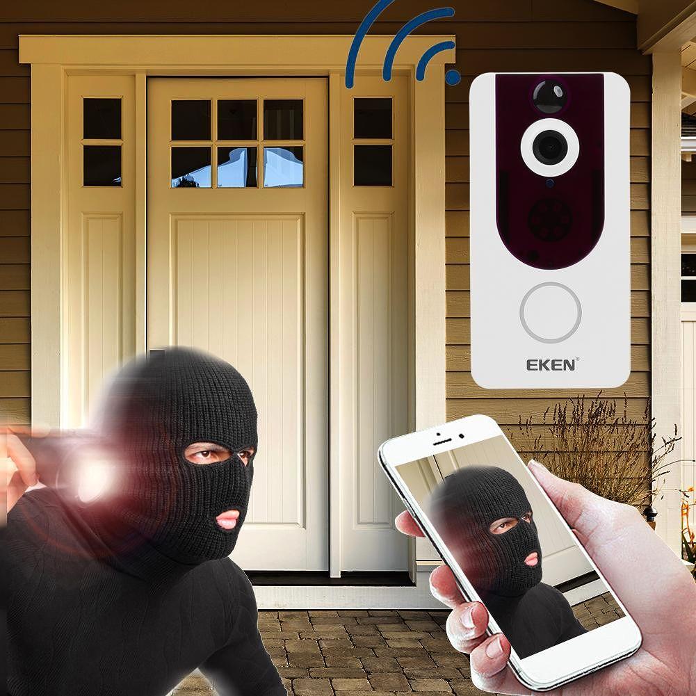 EKEN V7 1080P Wifi Two-Way Visual Night Vision PIR Camera Doorbell (White)