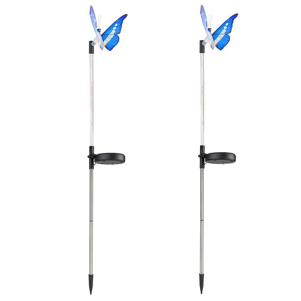 2pcs Solar Fiber Butterfly LED Light RGB Waterproof Lawn Lamp (Color Light)