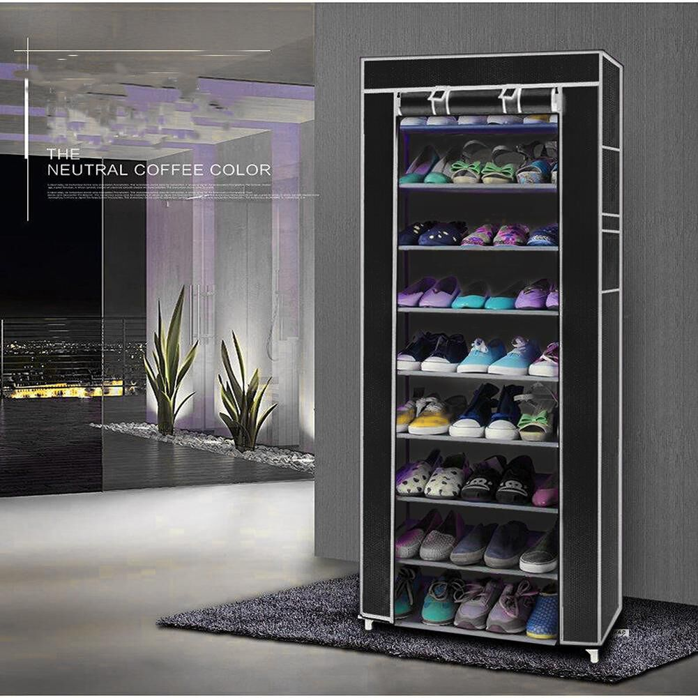 10 Layers 9 Grids Non-Woven Fabric Shoe Rack Shelf Shoes Storage Cabinet