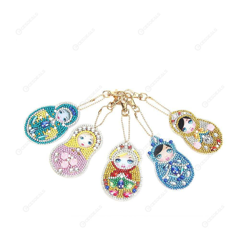 5pcs//set DIY Full Drill Special Shaped Diamond Sequins Painting Keychain