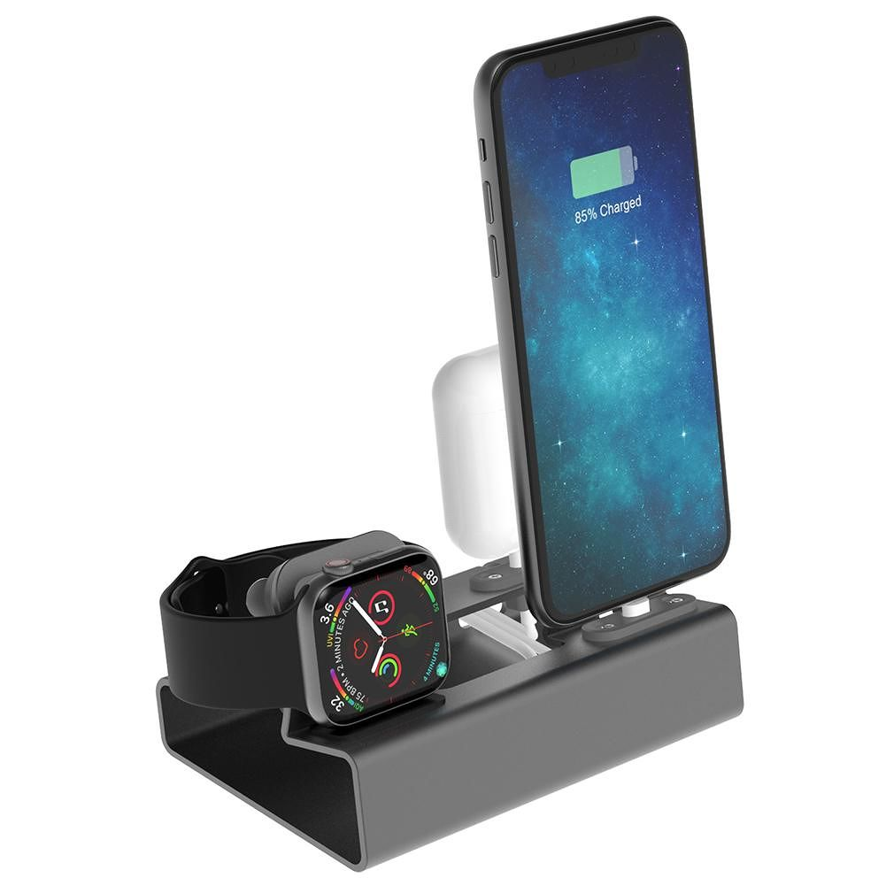 3 in 1 Charging Dock Holder for iPhone Airpods Apple Watch Station (Grey)