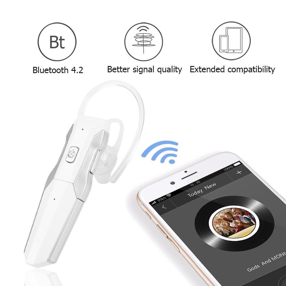 G8 Single Headset Bluetooth Wireless Earphone Car Business Earbud (White)