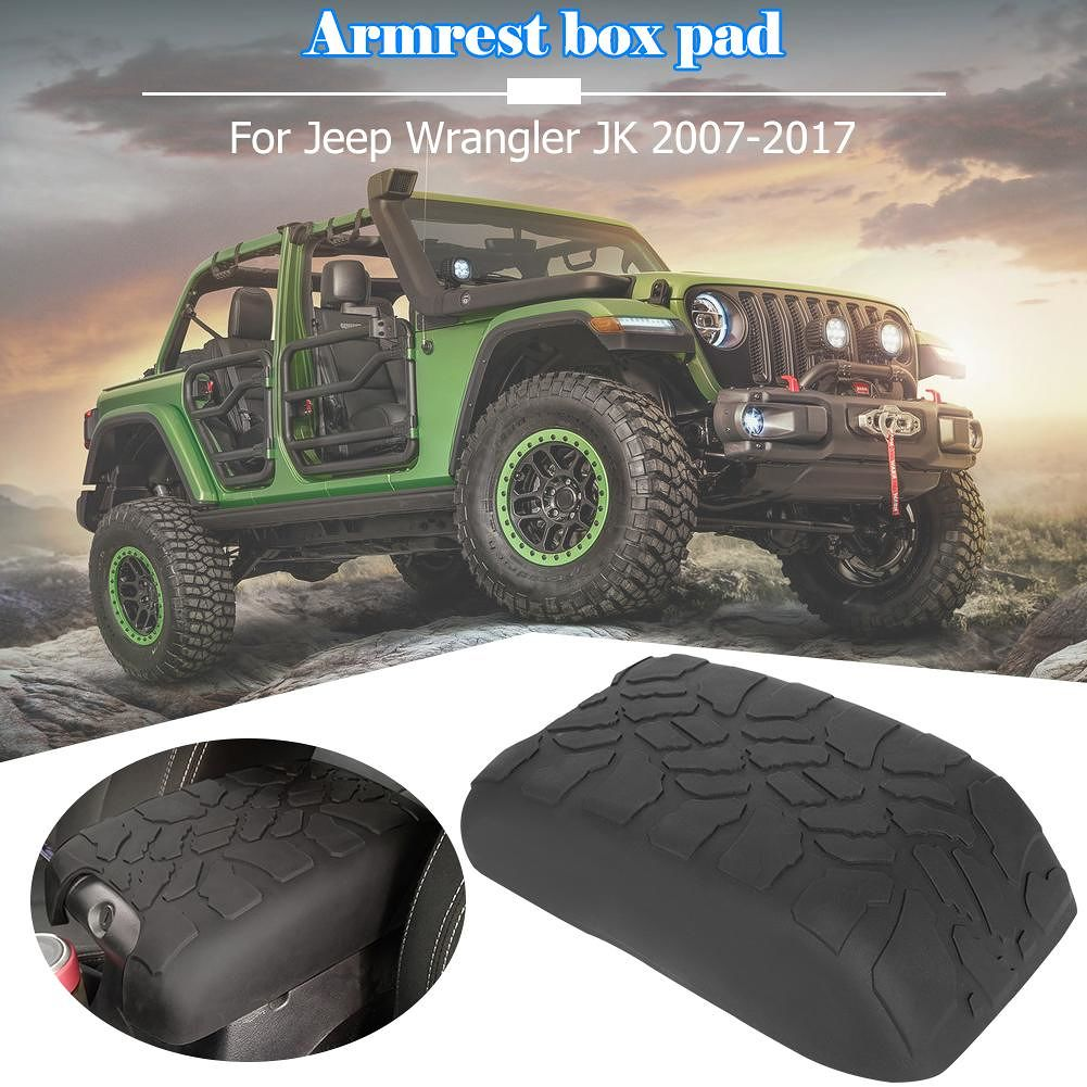 Tread Pattern Armrest Pad Console Armrest Cover for Wrangler JK 2007-2017