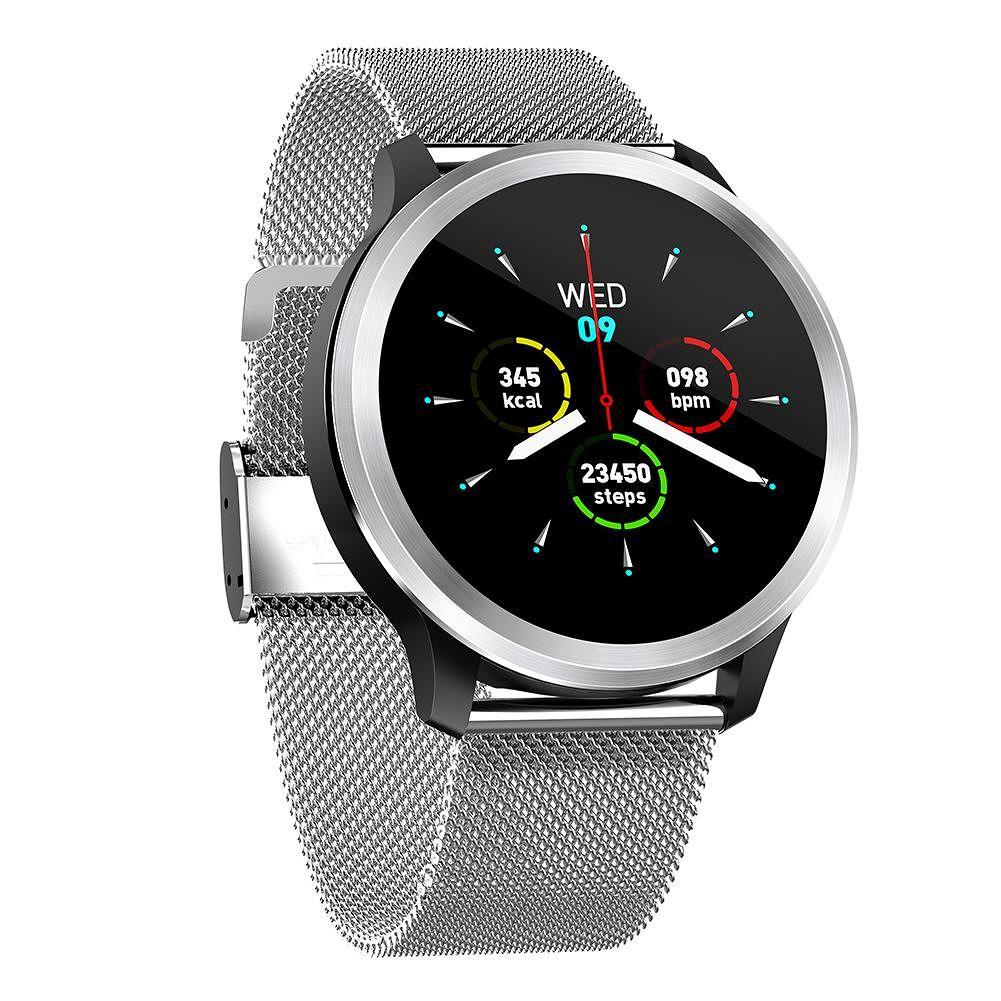 E18 ECG PPG Smart Watch IP68 Waterproof HRV Heart Rate Band (Silver Metal)