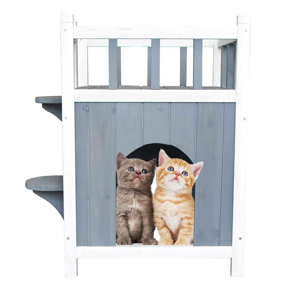 Double-Layer Wooden Cat Home Pet House Dog Shelter Kennel Nest with Balcony