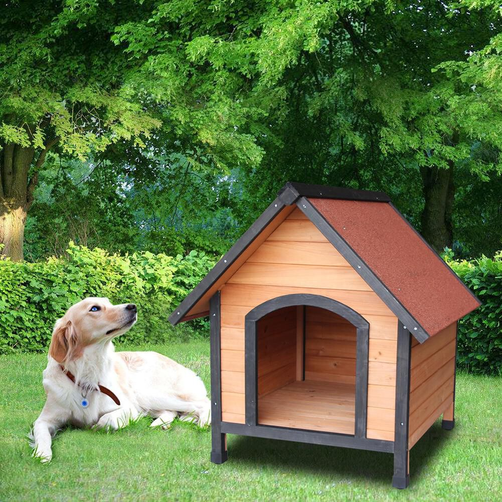 Wooden Dog House Pet Dogs Outdoor Waterproof Bed Shelter Puppy Kennel Nest