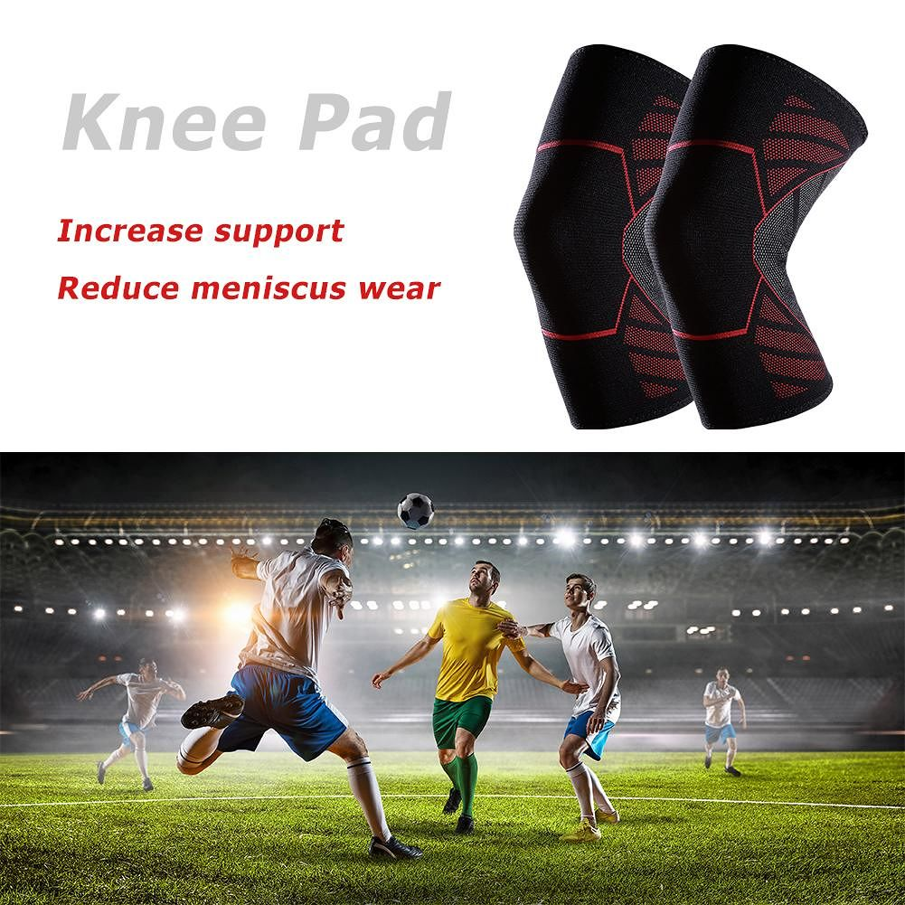 1pc Outdoor Breathable Elastic Knitting Basketball Sports Knee Pad (M Red)