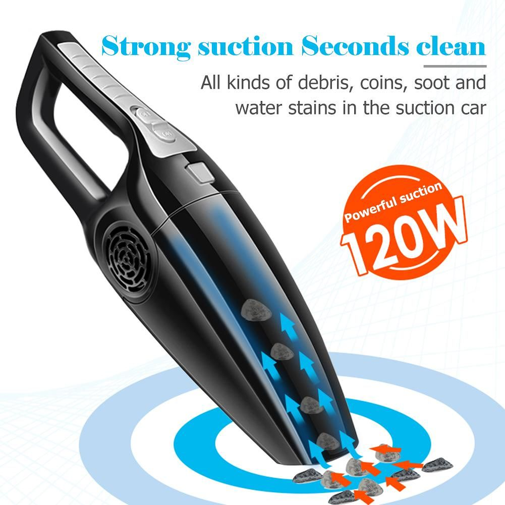 120W Car Vacuum Cleaner Wet Dry Dual Use Handheld Vacuum Cleaner (Black)
