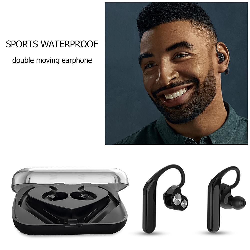 X6 TWS Bluetooth Dual Moving Coil IPX7 Waterproof Earhook w/Mic (Black)