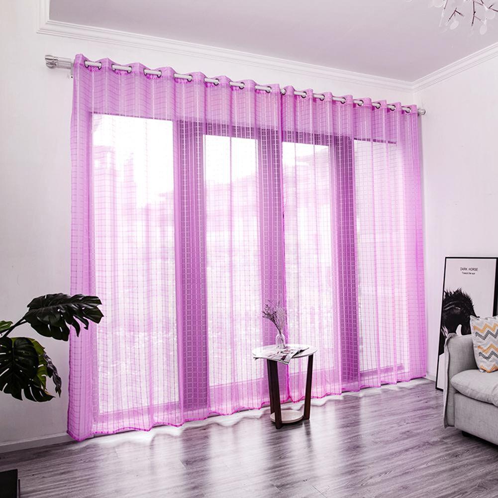 Gezitelilun Purity Window Screens Transparent Curtains (Lilac Colour)