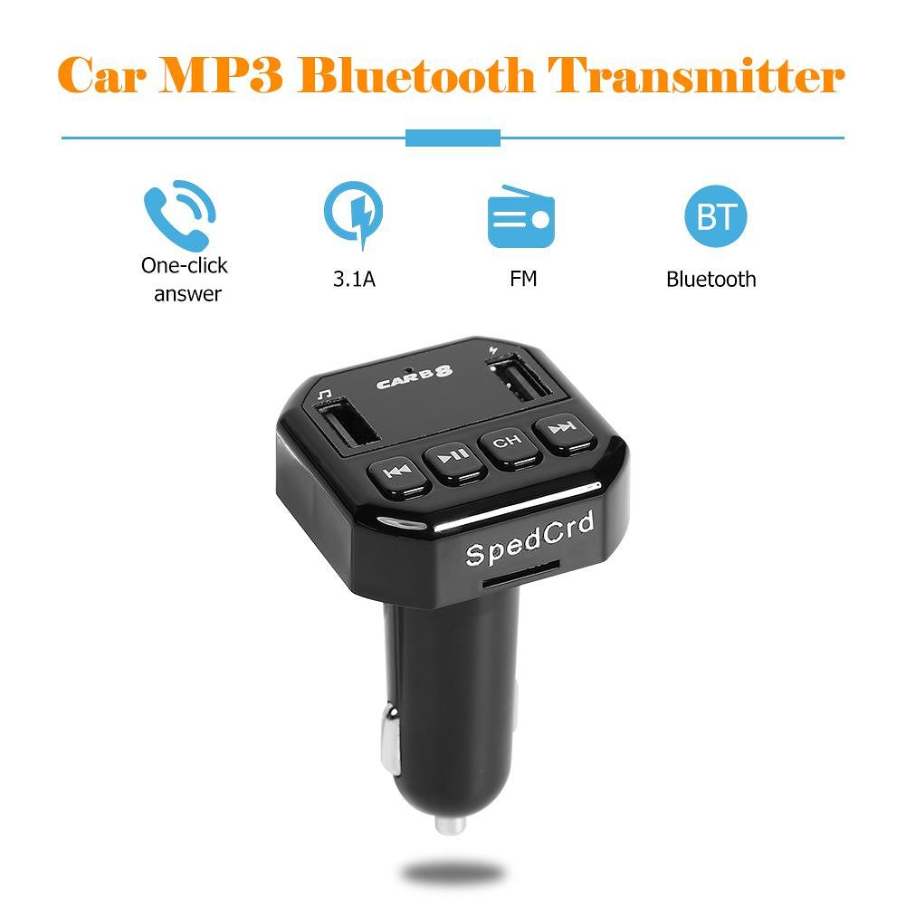 B8 Bluetooth FM Transmitter Car Kit MP3 Player 3.1A USB Charger (Black)