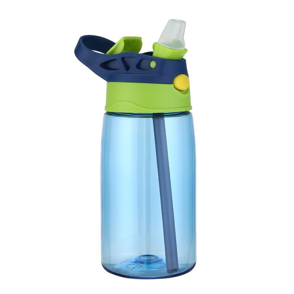 Portable 480mL Plastic Drinking Cup Sports Water Bottle w/Straw (Dark Blue)