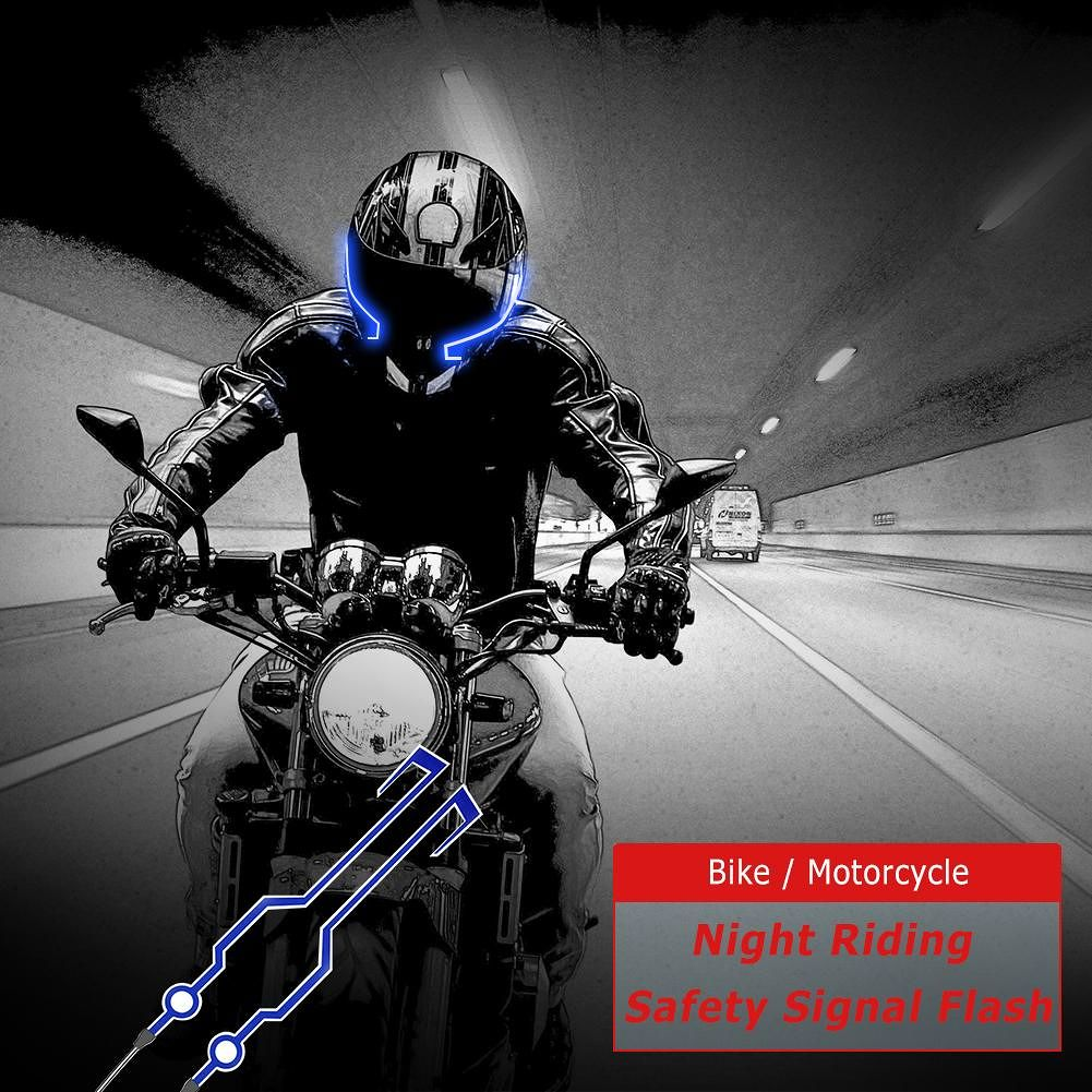 2pcs LED Light Strip for Bike Motorcycle Helmet Night Riding Safety (Blue)