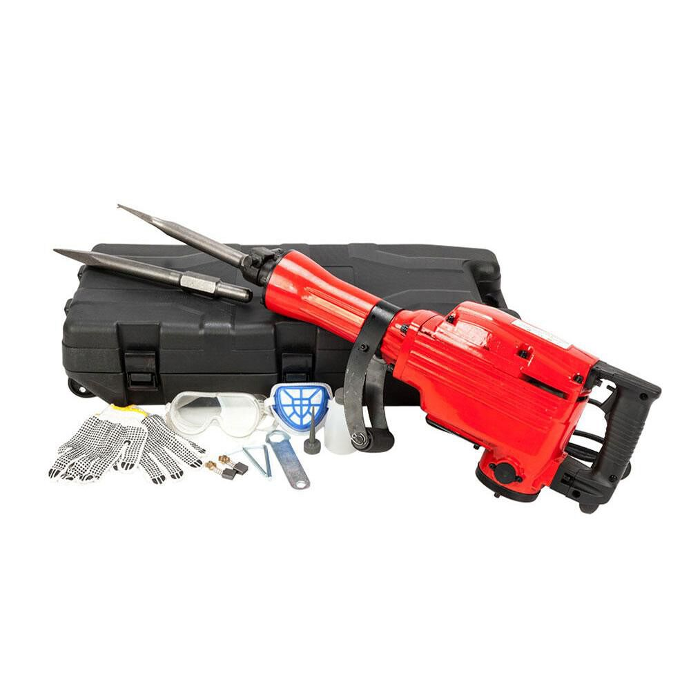 2200W Electric Demolition Jack Hammer Drill Concrete Breaker Chisels (Red)