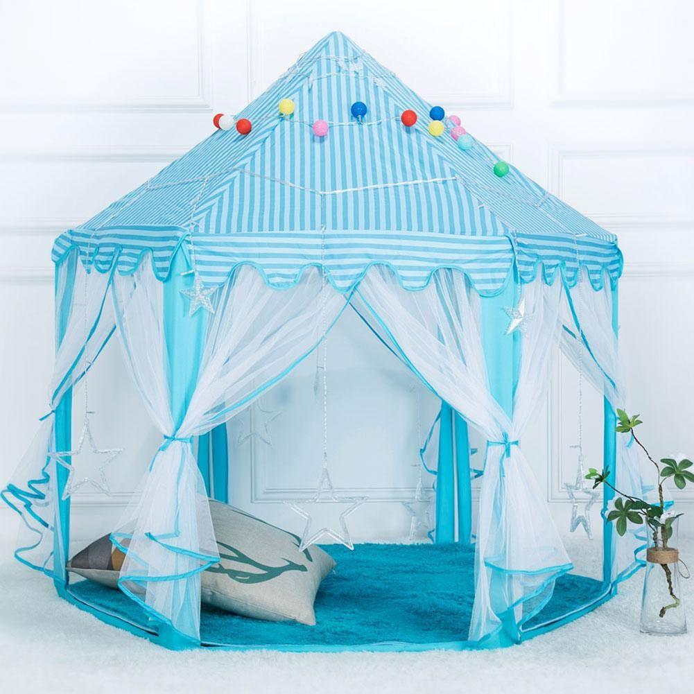 1.4m Diameter Portable Princess Castle Play Tent House for Children (Blue)