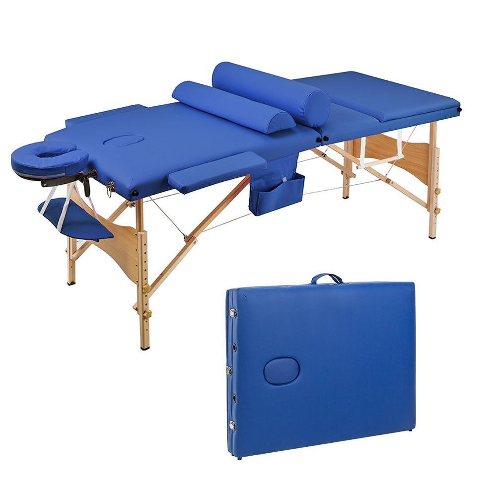 3 Sections Folding Portable Beauty Massage Table Set 70CM Wide Blue(Blue)