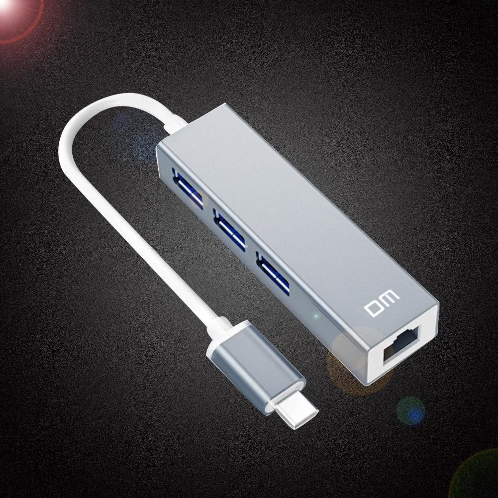 DM CHB013 Type-C to 3 USB 3.0 HUB RJ45 1000Mbps Ethernet Adapter Splitter