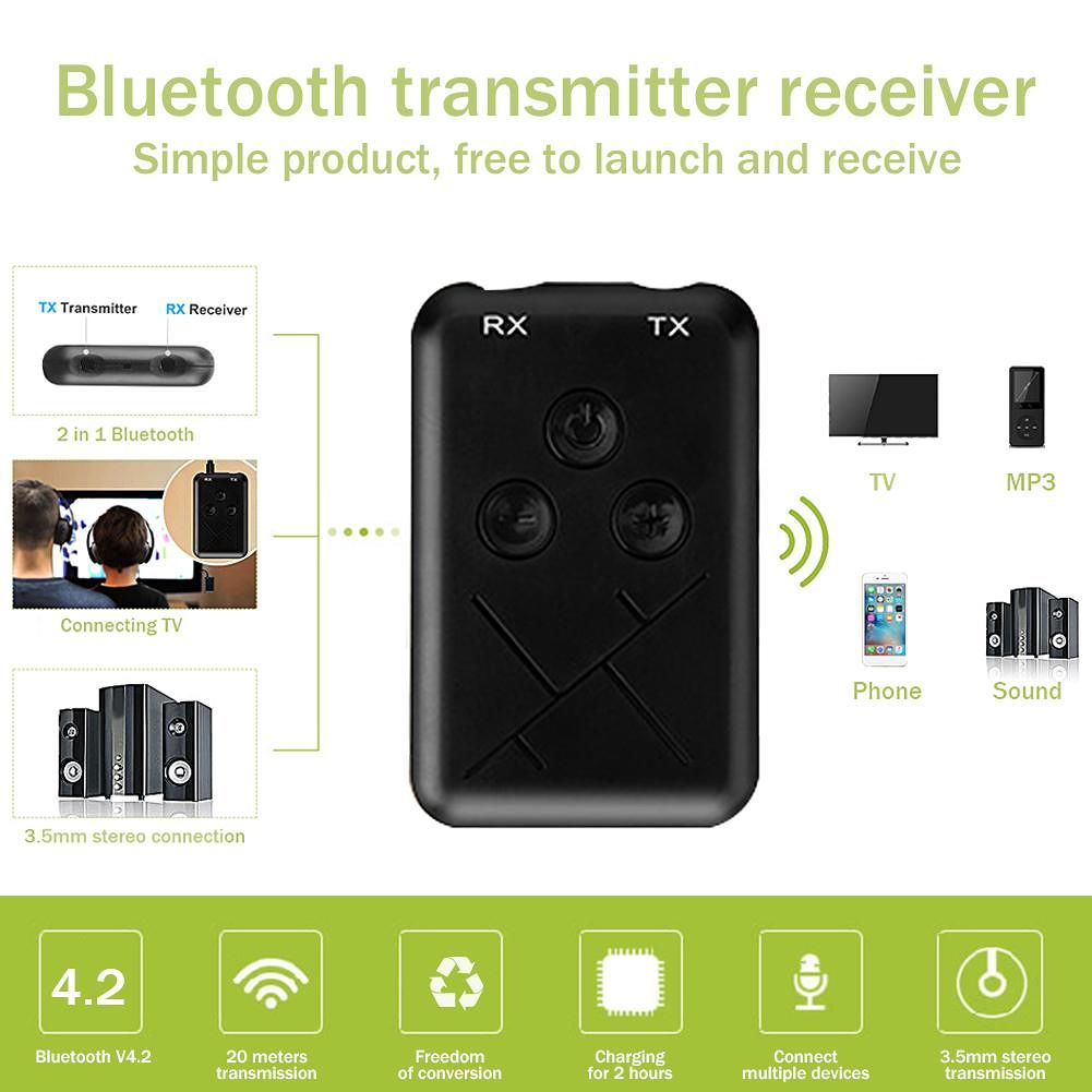 2 in 1 Wireless Bluetooth 4.2 Transmitter Receiver 3.5mm Audio Adapter