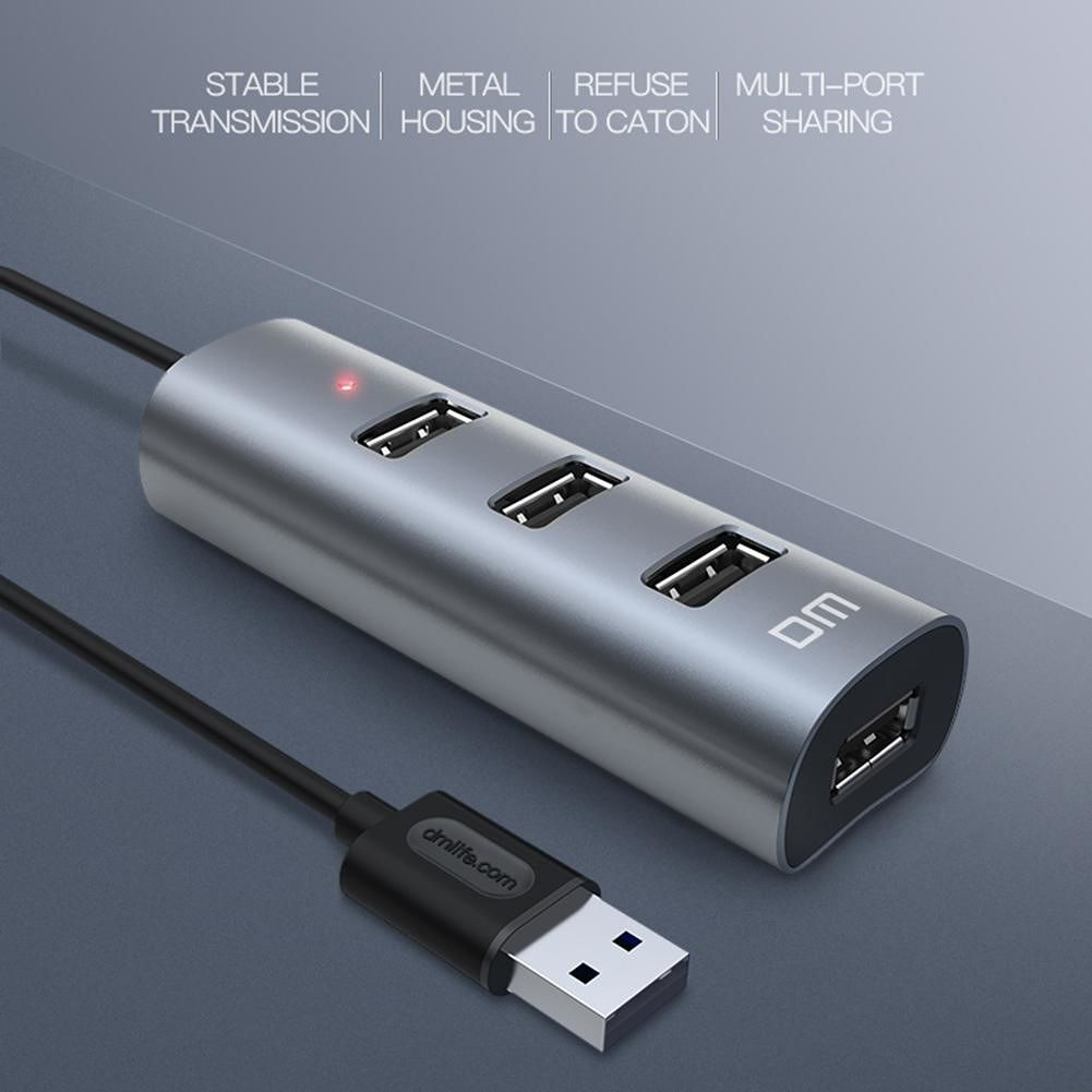 DM CHB008 4 USB2.0 HUB Adapter USB Splitter for Windows XP/7/8/10 (30cm)