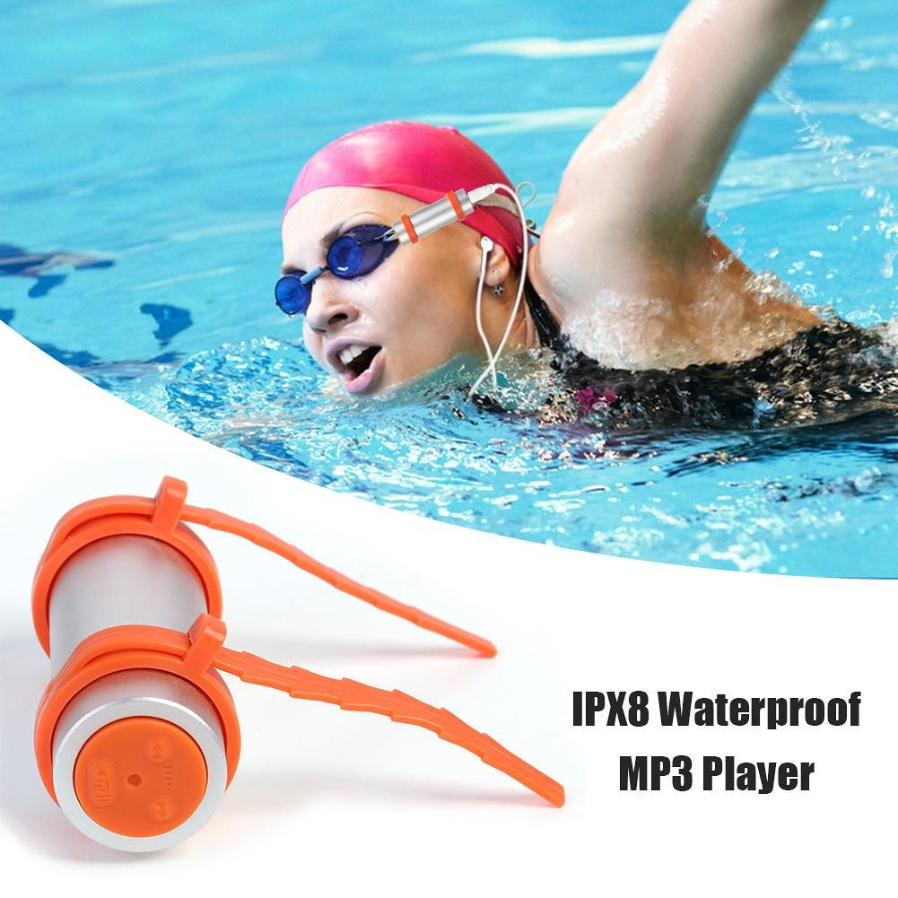 IPX8 Waterproof MP3 Player 8GB Swimming Diving Music Player FM (Silver)