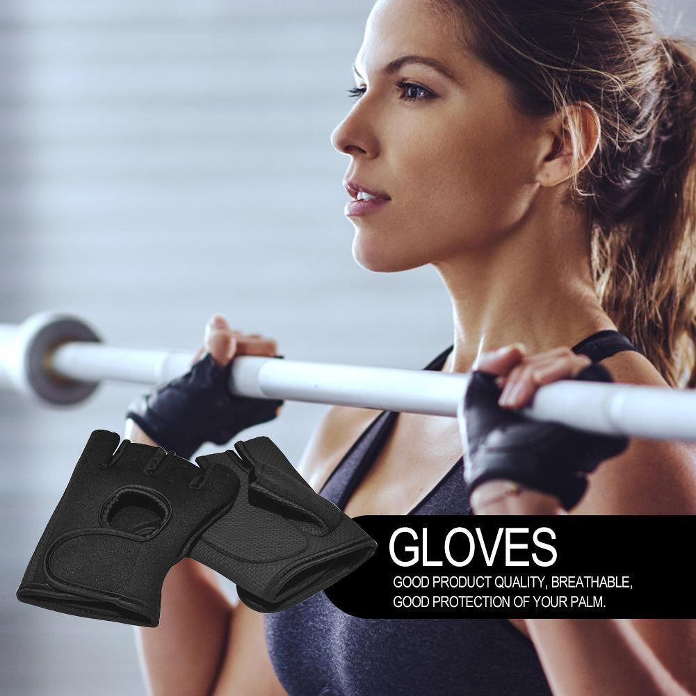 Diving Fabric Sports Half Finger Fitness Gloves Breathable Non-Slip (Black)