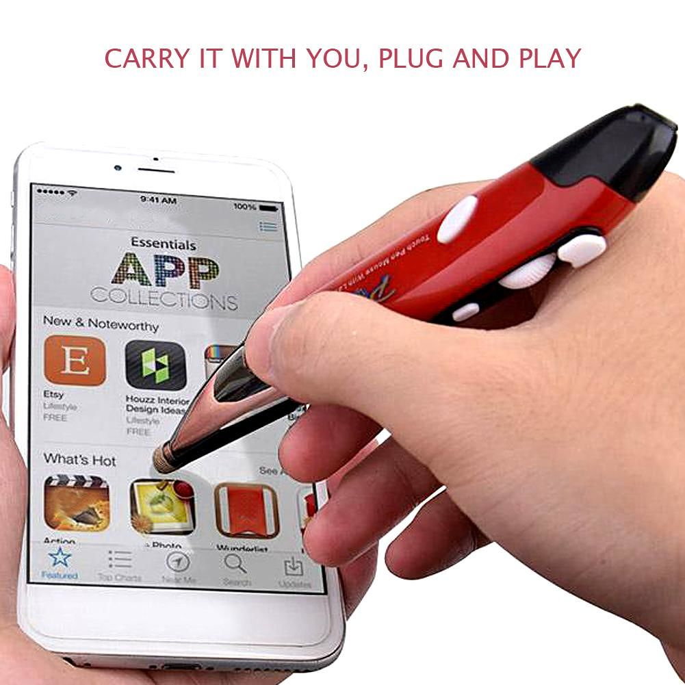 2.4G Wireless Touch Pen Mouse 1600 DPI Adjustable USB Optics Mice (Red)