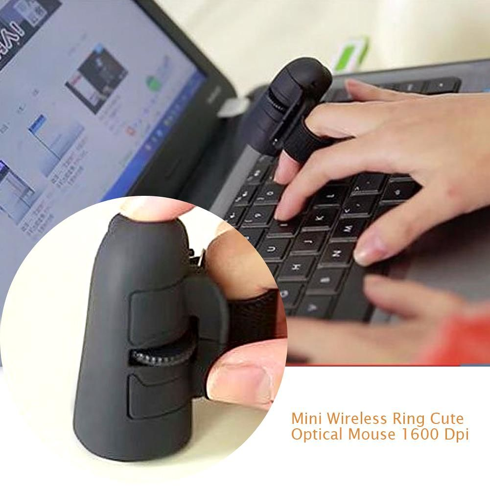 2.4 GHz Mini Wireless Mouse 1600 DPI USB Handheld Finger Ring Optical Mice