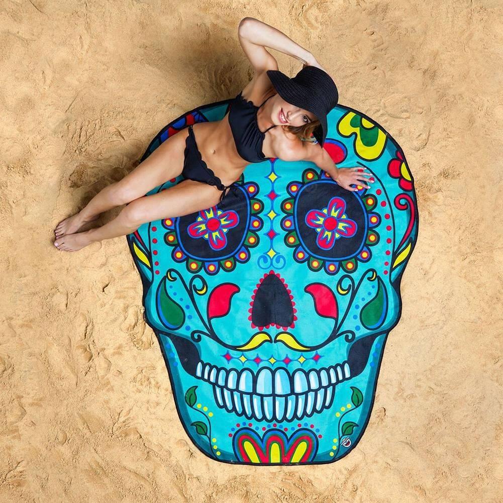 Beach Tapestry Carpet Blanket Picnic Mat Wall Hanging Art Decor (Skull11)