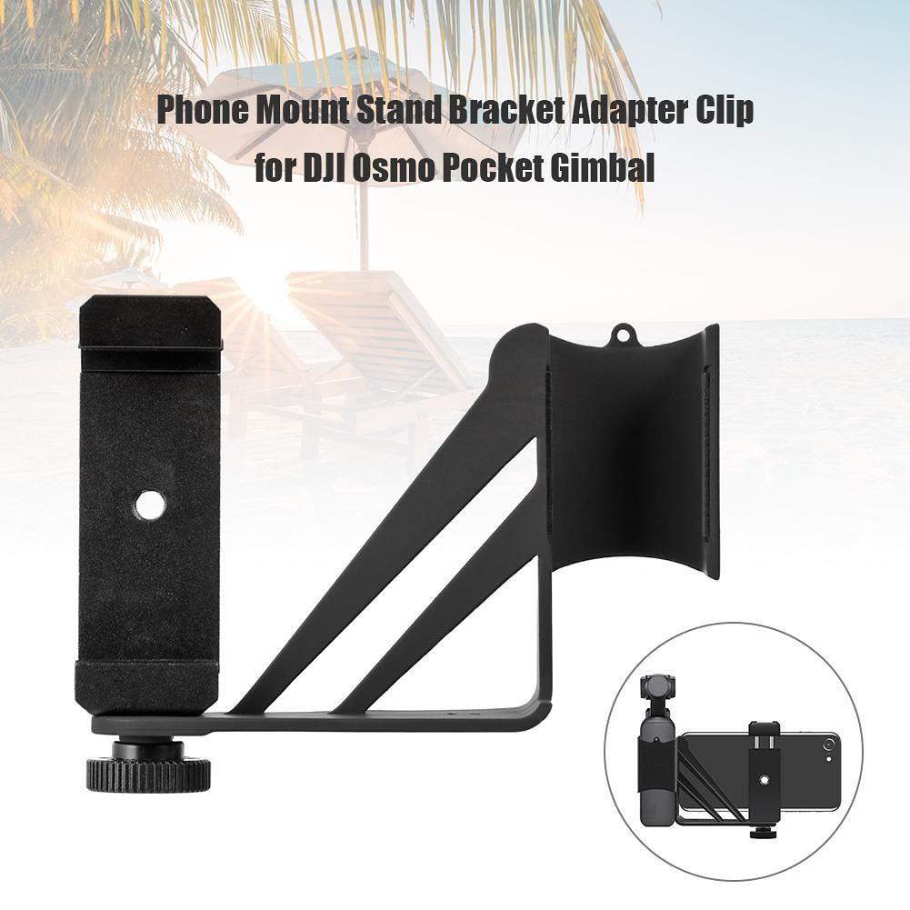 Phone Mount Stand Bracket Adapter Clip for DJI Osmo Pocket Gimbal (Black)