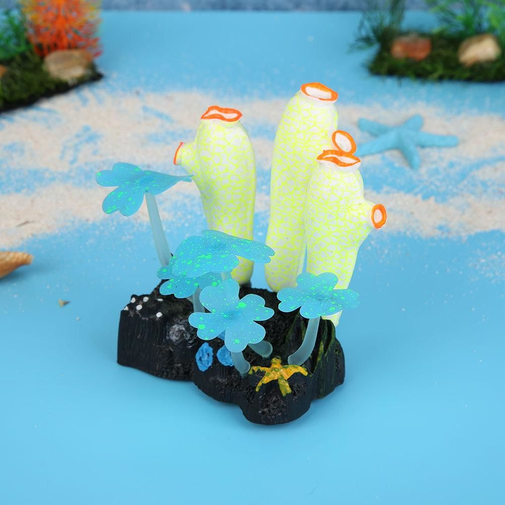 Simulation Luminous Coral Fake Underwater Plants Fish Tank Decor (Yellow)